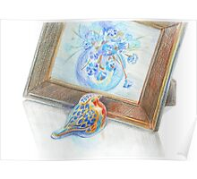 Porcelain bird and framed picture of flower boquet Poster
