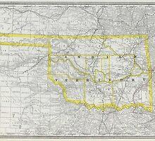 Vintage Map of Oklahoma (1889) by BravuraMedia