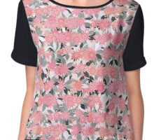 Coral Pink Flowers with Silver Gray Leaves Chiffon Top