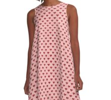 I Heart Glitter : Pink and Red Hearts Pattern A-Line Dress