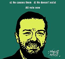 Ricky Gervais Atheist by DJVYEATES