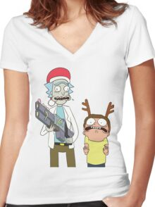 Merry Christmas - Rick and Morty Women's Fitted V-Neck T-Shirt