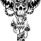 Psychedelic Skull and Snake Totem - Black and White by Andrei Verner