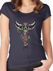 Psychedelic Skull and Snake Totem - Color Women's Fitted Scoop T-Shirt