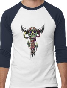 Psychedelic Skull and Snake Totem - Color Men's Baseball ¾ T-Shirt