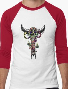 Psychedelic Skull and Snake Totem - Color Men's Baseball ¾ T-Shirt