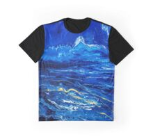 Abstract Fluid Painting Gold and blue Graphic T-Shirt