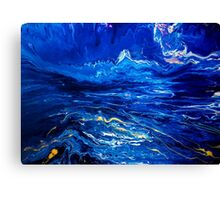 Abstract Fluid Painting Gold and blue Canvas Print
