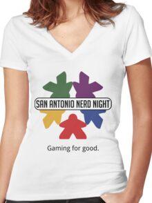 San Antonio Nerd Night - Color Flat (Light) Women's Fitted V-Neck T-Shirt