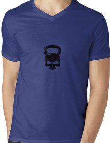 Kettlebell Skull White Mens V-Neck T-Shirt