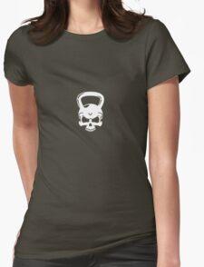 Kettlebell Skull White Womens Fitted T-Shirt