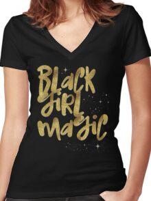 Black Girl Magic Nah BLM Black Lives Matter Faux Gold Glitter Bling Melanin African Queen Women's Fitted V-Neck T-Shirt