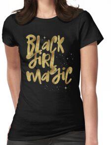 Black Girl Magic Nah BLM Black Lives Matter Faux Gold Glitter Bling Melanin African Queen Womens Fitted T-Shirt
