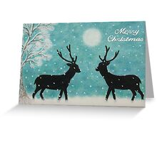 Christmas Reindeer with Snow, Moon and Tree Greeting Card