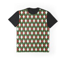 Christmas Argyle in Red and Green and White Graphic T-Shirt