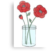 Poppies in a Jar Canvas Print