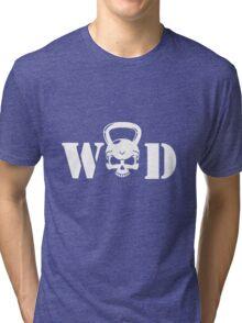 WOD Kettlebell Skull White Tri-blend T-Shirt