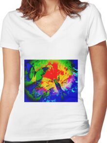 COLOURFUL VIBRANT FLUTTER BUTTERFLY Women's Fitted V-Neck T-Shirt