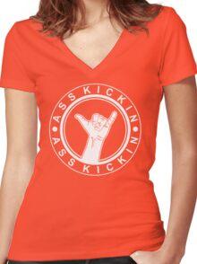Hang Loose | Ass Kickin Women's Fitted V-Neck T-Shirt
