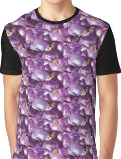 Watercolor Magenta Pink Hydrangea Blossoms Pattern Graphic T-Shirt