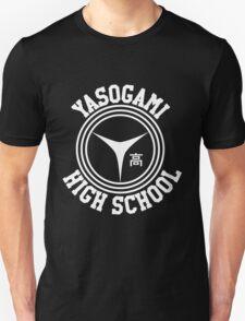 Yasogami Emblem with Text (White) Unisex T-Shirt