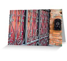 Detail of an old building with an iron fence Greeting Card