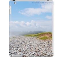 Fog Rolling In On Beach Filled With Pebbles iPad Case/Skin