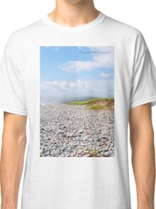 Fog Rolling In On Beach Filled With Pebbles Classic T-Shirt