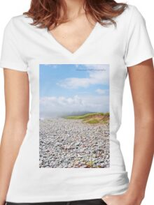 Fog Rolling In On Beach Filled With Pebbles Women's Fitted V-Neck T-Shirt