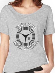 Yasogami Emblem with Text (Black) Women's Relaxed Fit T-Shirt