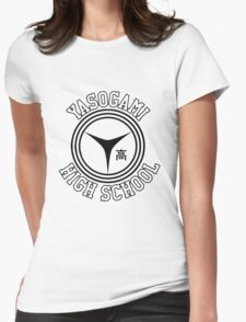 Yasogami Emblem with Text (Black) Womens Fitted T-Shirt