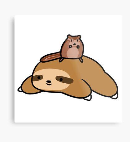 Sloth and Chipmunk Metal Print