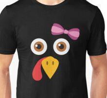 Thanksgiving Turkey Face Bow Funny Girls Gobble Gear Unisex T-Shirt