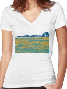 Seaview Kingsway in Turquoise Women's Fitted V-Neck T-Shirt