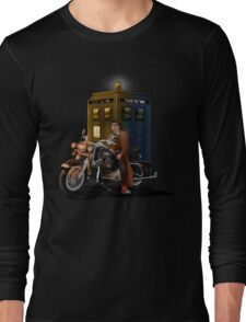 time and space traveller with Big Motorcycle Long Sleeve T-Shirt