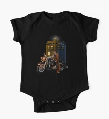 time and space traveller with Big Motorcycle One Piece - Short Sleeve