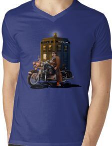 time and space traveller with Big Motorcycle Mens V-Neck T-Shirt