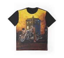 time and space traveller with Big Motorcycle Graphic T-Shirt