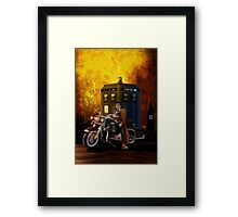 time and space traveller with Big Motorcycle Framed Print