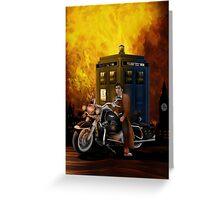 time and space traveller with Big Motorcycle Greeting Card