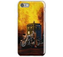 time and space traveller with Big Motorcycle iPhone Case/Skin