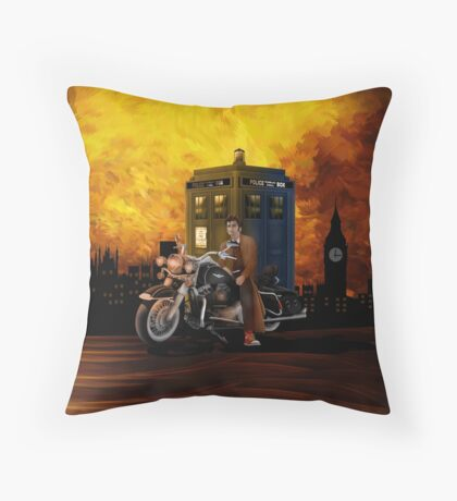 time and space traveller with Big Motorcycle Throw Pillow
