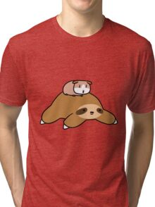 Sloth and Guinea Pig Tri-blend T-Shirt