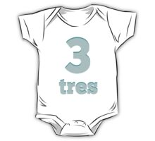 Baby learns the number three in Spanish blue One Piece - Short Sleeve