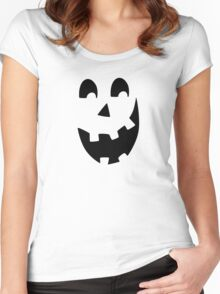 Crazy Jack O'Lantern Face Women's Fitted Scoop T-Shirt
