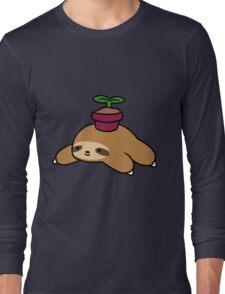 Potted Plant Sloth Long Sleeve T-Shirt