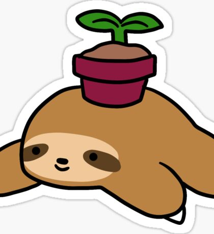 Potted Plant Sloth Sticker