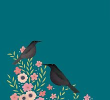 PRETTY FLOWERS AND BIRDS, TURQUOISE by Jane Newland