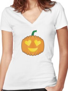Pumpkin emoji - Heart/Love Women's Fitted V-Neck T-Shirt