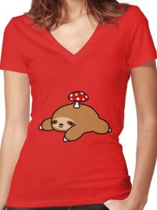 Sloth and Mushroom Women's Fitted V-Neck T-Shirt